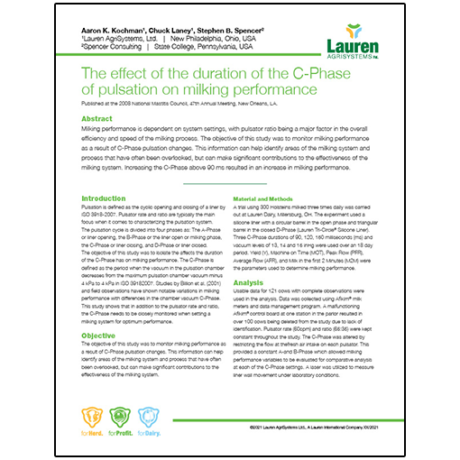 Case study 5: The effect of the duration of the C-Phase of pulsation on milking performance