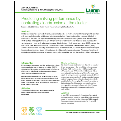 Case study 6: Predicting milking performance by controlling air admission at the cluster