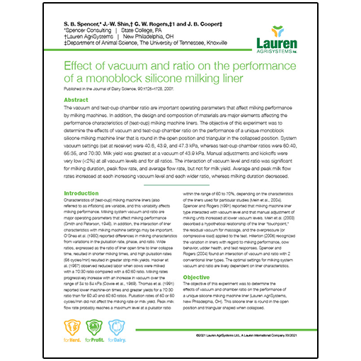 Case study 7: Effect of vacuum and ratio on the performance of a monoblock silicone milking liner