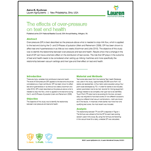 Case study 8: The effects of over-pressure on teat end health