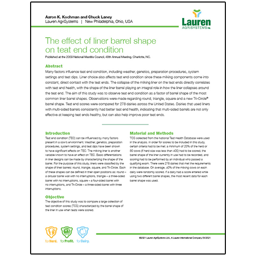 Case study 9: The effect of liner barrel shape on teat end condition