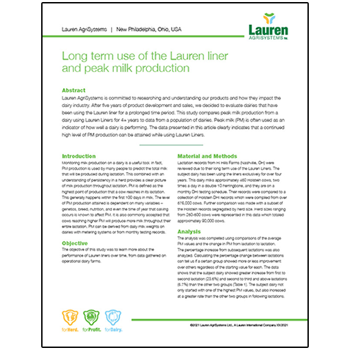 Case study 11: Long term use of the Lauren liner and peak milk production